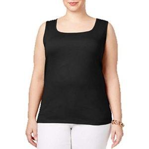 Karen Scott Plus Size Cotton Square-Neck Tank Top